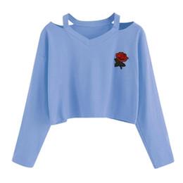 Wholesale Wholesale Crop Sweatshirts - Spring 2018 Tracksuit Women Rose Embroidery Long Sleeve Women Pullover Sudaderas Mujer Crop Top Sweatshirt #415