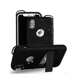Wholesale Iphone Plastic Cover Case - For Samsung Note 8 S8 Plus Hybrid Armor Case Soft TPU PC Kickstand Holder Phone Cover for IPhone X 8 7 plus LG Stylo 3 G6 OPP Bag