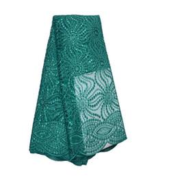 2019 cordones de organza doble Tela de encaje francés alta clase cordones africanos tela doble organza con lentejuelas bordado para coser belleza vestido de mujer rebajas cordones de organza doble