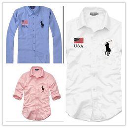 Camiseta larga vestido hombres online-Nueva Moda Pequeño Caballo Oxford Hombres Camisas de manga larga Camisas de vestir para hombres Camisas de negocios de alta calidad para hombre Camisa de polo Chemise Homme