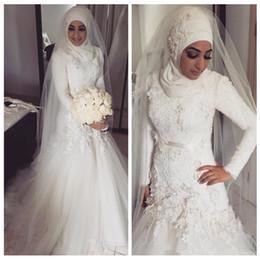 2019 arabische brautkleider Muslimische Brautkleider 2018 Spitze Applikationen langen Ärmeln Dubai Arabian Mermaid Brautkleider Hijab Vestidos De Novia günstig arabische brautkleider