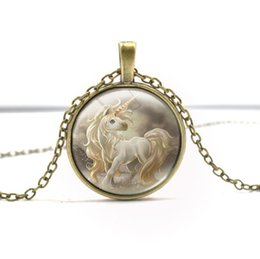 Wholesale Brown Crystal Necklace - Cartoon Animal Unicorn Necklaces Gril Kids Charms Antique Silver Brown Glass Pendant Necklace Alloy Chian Jewelry Brithday Party XMAS Favor