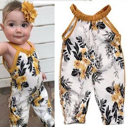 Wholesale Wholesale Zebra Print Flowers - Newborn infant baby girl sleeveless clothes floral bodysuit romper jumpsuit outfits toddler baby flower printing romper clothes