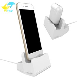 Wholesale Table Iphone Charger - 2 in 1 Phone holder Charging Dock Desktop Table Holder Stand Station Charger for Airpods iPhone X 8 7 7Plus With Package