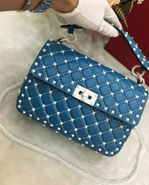 Wholesale full body leather - 2018 new genuine leather real high fashion handbag diamond lattice metallic white colorful rivet cross body pack sheep skin full start 24cm