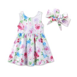 Wholesale Cute Line Skirts - Hot baby girls dress summer floral dresses cute infant vest skirt baby girls dress+headband 2pcs set children clothes Free Shipping B11
