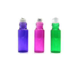 Wholesale Assorted Bottles - (5) Assorted Colors 5 ml Glass Roll-on Bottles with Stainless Steel Roller Balls for Essential Oil Aromatherapy Perfume Roller Ball bottles