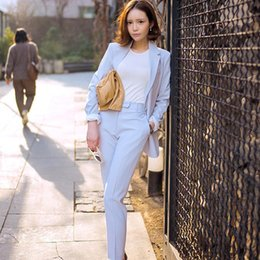 Argentina Primavera Newon Moda traje de ocio de las mujeres Soild color traje chaqueta y Harlan pantalones luz azul Twinset cheap light blue leisure suit Suministro