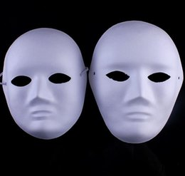 Máscara em branco cara cheia on-line-Sem pintar engrossar homem mulheres máscaras em branco para a decoração polpa ambiental máscara facial completa DIY belas artes pintura máscaras SN646