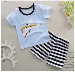 Wholesale Yellow Body Suit - 2018 baby boy and girl body suit quality 100% cotton children t shirt summer cartoon kids clothing sets