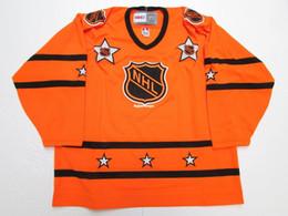 Barato custom 1973-78 1980-81 NHL ALL STAR GAME VINTAGE CCM NARANJA HOCKEY JERSEY jerseys de bordado de color naranja desde fabricantes