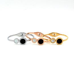 bracelet en or blanc Promotion Blanc avec coque noire Bracelets Pour Femmes Acier Inoxydable Accessoires Or Couleur Charme Wrap Bangles Pour Femmes mode bijoux