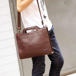 Wholesale File Key - PU Leather Messenger Shoulder Bag Men's Briefcase Business Briefcase File Package Thin File Portfolio Ferramenta Men's Bag Work