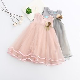 Wholesale Girls Lace Dress Brooch - Girls Dress 2018 Brand Kids Clothes Sleeve Letter Vest Brooch Lace Layered Floral Voile Dress Clothing Children Skirts