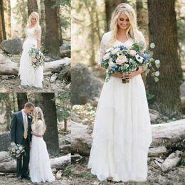 Vestidos ocidentais metade on-line-2018 Western Country Bohemian Floresta Vestidos De Noiva Rendas Chiffon Modest V Pescoço Meia Mangas Longos Vestidos de Noiva Plus Size Vestido para o Casamento