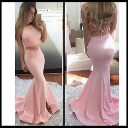 Wholesale Modern Import - Pink Backless Two Piece Prom Dresses Mermaid Style 2018 Sexy Appliqued Satin Imported Party Dress Formal Cheap Prom Gown