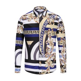 Hot Sale-Famous Brand design clothes hombres Rayas golden dragon flower print camisa manga larga 3d Baroque impresión Medusa hombres desde fabricantes