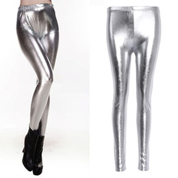 стрейч блестящие леггинсы Скидка 2017 Fashion Women Sexy Shiny Leggings High Waist Faux Leather Pencil Pants Stretch Silver Gold Solid Elastic New Soft Legging