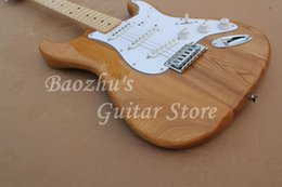 Wholesale Stratocaster Electric - Electric Guitar, Ash nature body, Maple Fretboard guitar, High quality, Accept customization Stratocaster