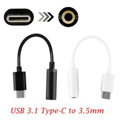 Wholesale android note3 - Type-C to 3.5mm Earphone Cable Adapter USB 3.1 Type C Male to 3.5 AUX Audio Female Jack for Android Xiaomi 6 Mi6 Note3 Huawei P20 Pro letv2
