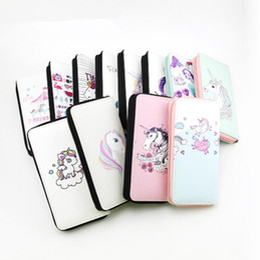 Wholesale Cute Lovely Photos - Lovely cute unicorn print wallet long zipper purse fashion new girl wallet with card holders cute pattern designed women wallet