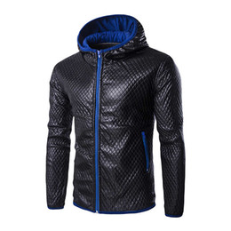 Wholesale faux collar sweater - Wholesale- 2017 Winter Men Faux Leather Jacket Gorgeous Hooded Sweater Coat Outwear Korean Style 984