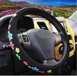 emblème d'octavie Promotion 38cm voiture housse de volant ensembles housse de volant fleurs de bande dessinée noir tissu confortable universel 4 saisons