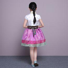 Wholesale Traditional Ethnic Dress - Children Minority Folk Ancient Korea Hanbok Girls Princess Dress Asian Clothing Traditional Ethnic Hanbok Costume Stage Cosplay