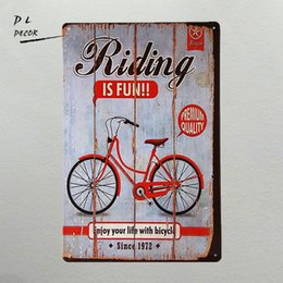 Wholesale vintage motor homes - DL- riding bike fun day home decor living room wall poster vintage car and motor tin sign