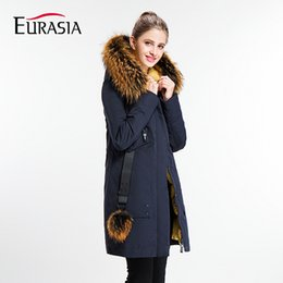 Wholesale Womens Real White Fur Coat - Wholesale- EURASIA 2017 New Brand Womens Coat Long Lady Winter Parkas Style Jackets Real Fur Collar Thick Hood Full Outerwear Y170022