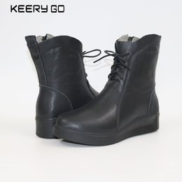 Wholesale wedge ankle wool boots - The new high-end leather lace up boots Martin side zipper comfort women boots Sheepskin wool boots