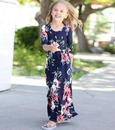 Wholesale Wholesale Chiffon Tunic Dress - Long Dress Fashion Trend Bohemian Dress for Girls Beach Tunic Floral Autumn Maxi Dresses Kids Party Princess Dresses