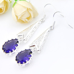 Wholesale Triangle Gem - Gift for Mother 5Pairs 1 Lot Wholesale Crystal Fire Triangle Amethyst Gems 925 sterling Silver Drop Earrings UK American Wedding Earrings