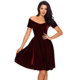 Wholesale Womens Work Out Shorts - Velvet Dresses 2018 Sexy Womens Party Vestidos de Festa Off Shoulder Burgundy Pleated Midi Dress Robe Velours LC61861