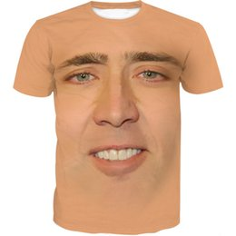 2019 nicolas cage Más nuevo FashionThe Giant Blown Up Face de Nicolas Cage Camiseta Funny 3D Impreso Mujeres / Hombres Camiseta Unisex de manga corta Casual Tops K302 nicolas cage baratos