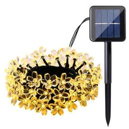 Lámpara de pétalo online-Lámpara de melocotón solar a prueba de agua festival decoración 30LED pétalo cereza Lámparas solares