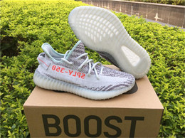 Wholesale Volleyball Shoes Cheap - Kanye West Boost 350 V2 Zebra Blue Tint B37571 Boosts Mens Womens Running Shoes Fashion Outdoor Sneakers Cheap Wholesale Online