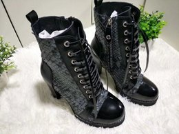 Wholesale Female Shoe Designers - 2018 Spring Autumn Women Ankle Boots Female High Heels Lace Up Leather Shoes Woman designer shoes women woman shoes luxury brand Z12W1
