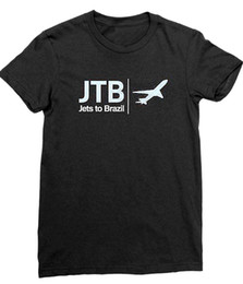 airplane jets Promo Codes - Jets To Brazil - Airplane Logo Slimfit Black T-shirt - BRAND NEW (Official)