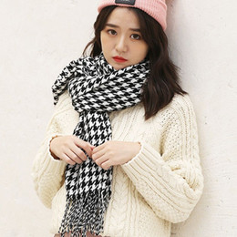 2019 bufanda de pata de gallo blanco negro Nueva moda otoño invierno pata de gallo largo y suave bufanda negro blanco chal de punto bufanda a cuadros bufanda para hombres mujeres rebajas bufanda de pata de gallo blanco negro