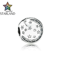 charm clip lock Coupons - Starland Charm 925 Sterling Silver Lock Stopper Charm Beads Clip Star Moon With Paved Clear Zirconia DIY Women Jewelry Gift