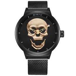 Wholesale Punk Buckle - men's watch Gold Skull Skeleton Three dimensional dial Black Bangle mesh strap Luxury watches quartz watch Army sports Punk wristwatch