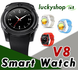 hd wrist watch Coupons - V8 Smart Watch Wristband Watch Band With 0.3M Camera SIM IPS HD Full Circle Display Smart Watch For Android System With Box 1pcs