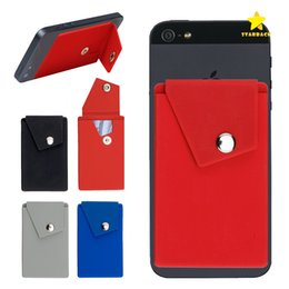 Wholesale card stand holder - Adhesive Silicone Phone Wallet Case with Snap Pocket Phone Back Stick-on Credit Card Holder with Stand for Smart Phone Random Color
