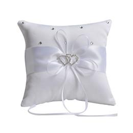 almohada terapia de sueño Rebajas Anillo de bodas Cojín Almohada TB cinta partido bowknot Decoración del corazón de diamantes de imitación de satén Venta