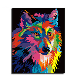 Wholesale colourful wall painting - Frameless DIY Oil Painting By Numbers Hand Painted Modern Wall Canvas Painting Picture For Living Room(A colourful wolf)