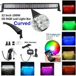 """Luzes de barra de advertência on-line-32 """"180 w 5d rgb barra de luz strobe flash multicor led luz de advertência bluetooth controle de aplicação cablagem livre"""