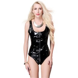 black catsuit club Promo Codes - Black Women's Sexy PU Leather Wet Look Bodysuit Club Catsuit Leotard Thong Jumpsuit S-2XL