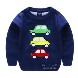 Wholesale Boys Knitwear Clothing - Children's Spring Sweaters Boys Cartoon Cars Long Sleeves Sweater Autumn Boys Girls Cotton Knitwear Clothes Kids Pullover Warm Cardigans