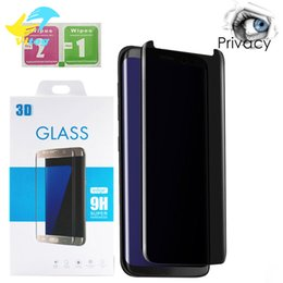 Wholesale Hd Casing - For Galaxy S9 S9 Plus S8 Note8 Screen Protector Privacy Tempered Glass Anti Glare HD Privacy Case Friendly Screen Protector Film